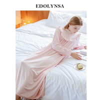 Autumn Sexy Long Sleep Lounge Cotton Sleepwear Female Home Dress Lace Princess Vintage Nightgown Women Sleeping Dress #L3