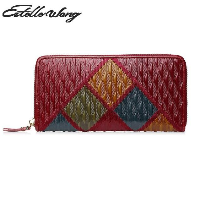 9166df6bba Estelle Wang Genuine Cowhide Leather Wallet Floral Women Money Clips  Vintage Flower Embossed Patchwork Phone Wallet Women Clutch