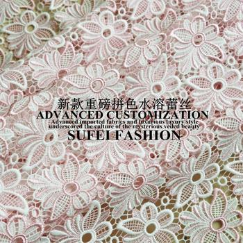 120cm wide water pink floral embroideried milk silk water soluble wedding dress cheongsam clothes skirt fabric S230