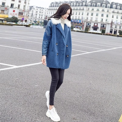 Couture Long De Épaississement Vêtements Couleur Lâche Grande Femelle Manteau Nouvelles Femmes Bleu 1 D'hiver Taille Contraste aq04wyvCx