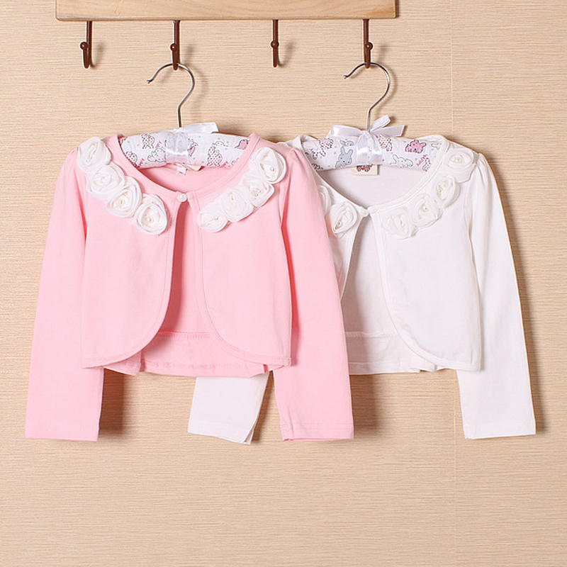 Girls Pure cotton short jacket Pearl flower Baby clothes Kids Cardigan jackets long sleeve cape poncho Princess waistcoat - Super Costumes store