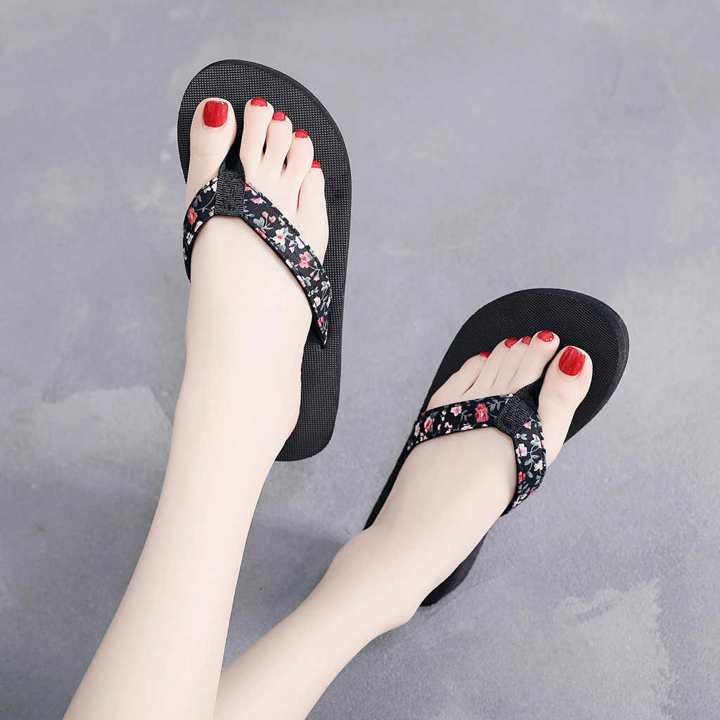 SAGACE Fashion Women Summer Low Flip Flops Leopard Ethnic Style Beach Slipper Non-Slip Clip-Toe Casual Slip On Round Toe Slides