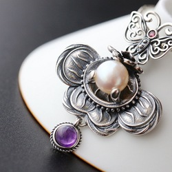 Silber Großhandel Handgemachte Natürliche Perle Amethyst S925 Sterling Silber Anhänger Vintage Thai Silber Anhänger