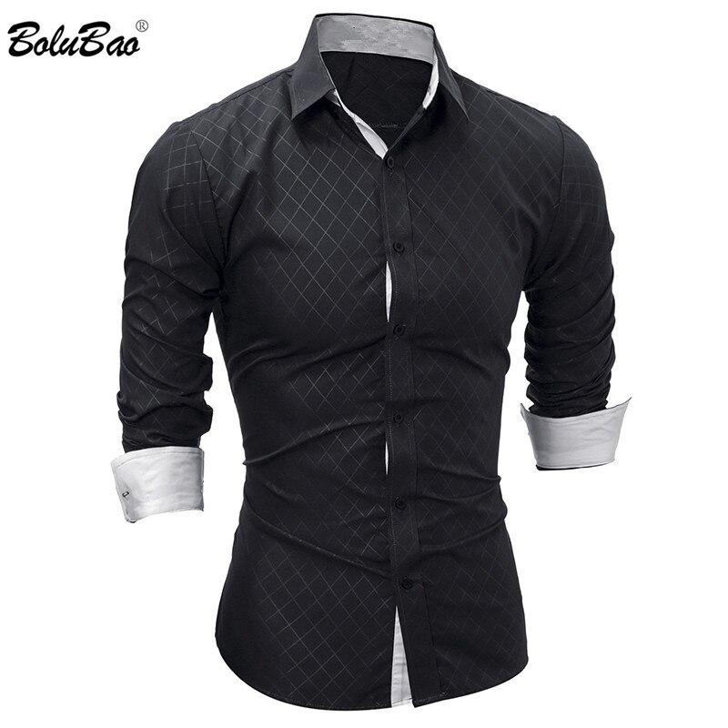 BOLUBAO New Men Long Sleeve Casual Shirt Male Solid Color Slim Fit Fashion Tuxedo Shirt Mens High Quality Dress Shirts