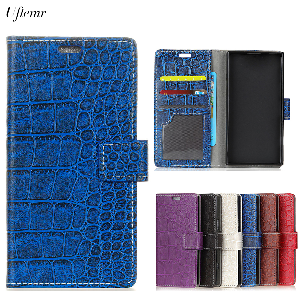 Uftemr Vintage Crocodile PU Leather Cover For Alcatel A3 Plus Protective Silicone Case Wallet Card Slot Phone Acessories
