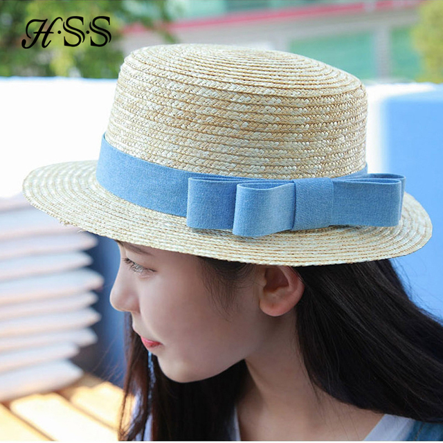 254903a8bf3 HSS Brand Fashion Bow Straw Hat Women s Flat Top Caps Summer sun hat Fedora  Panama Hats