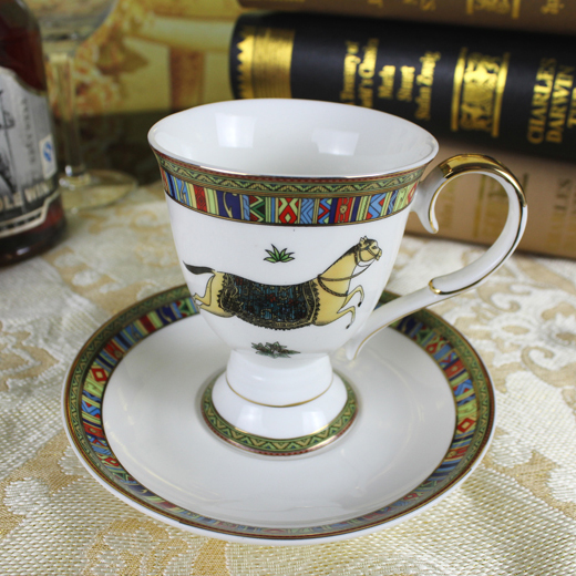 Porcelain coffee cup and saucer bone china horse design outline in ...