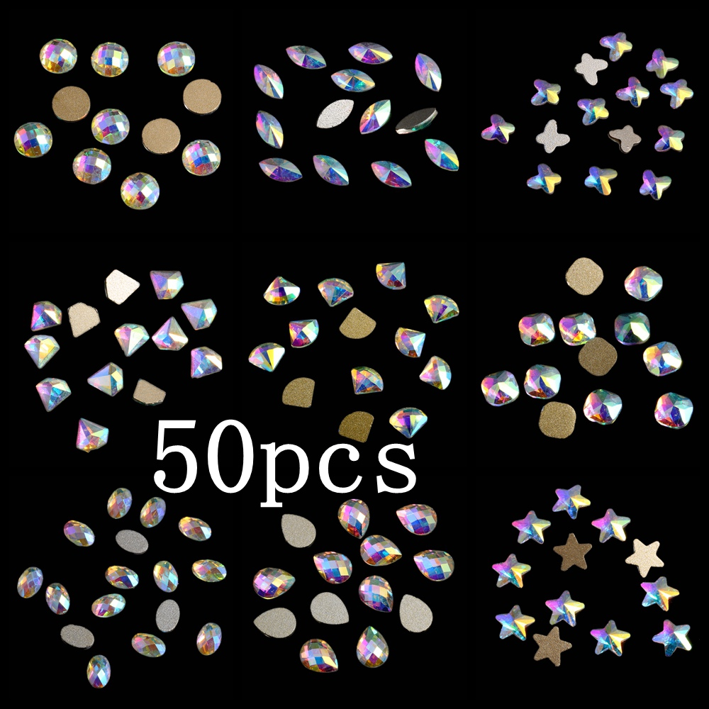 Crystal AB Nail Rhinestones 50pcs Glass Rhinestone For Nail Art Decorations Flatback Nail Stickers DIY Craft Art Charm Stones wakefulness ab color glass rhinestones crystal mix caviar nail art mini beads sharp bottom gemstones charms 3d nail decorations