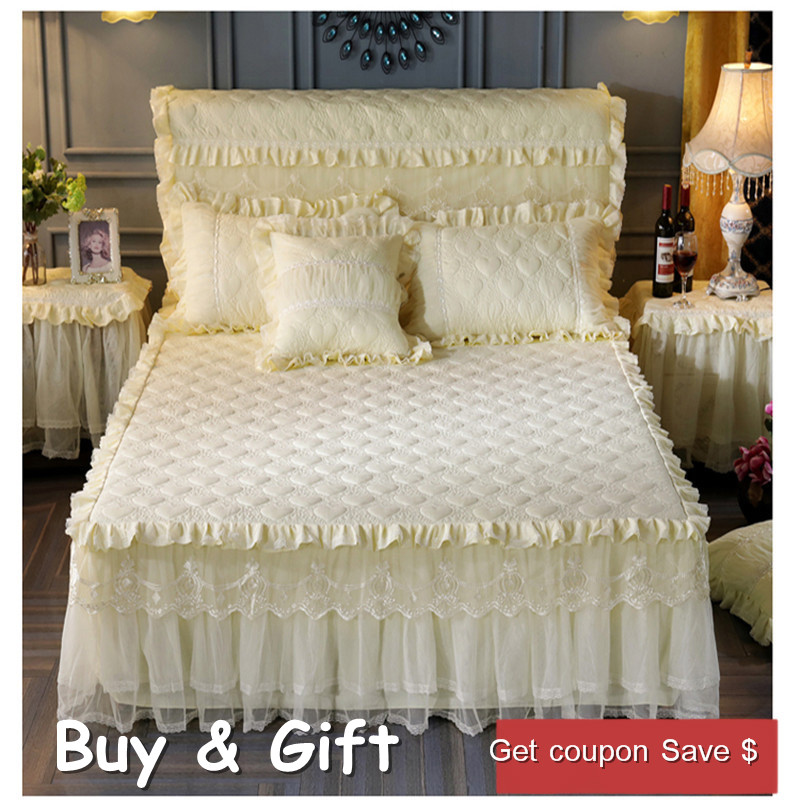 free expressshipping high quality lace sheets lace bedskirt Princess quilted padded bed mattress cover warm bedcover