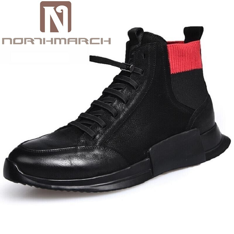 NORTHMARCH New Retro Men Martin Boots Round Toe Shoes British Style Lace-Up Mens Motorcycle Military Boots Outdoor Men Sneaker british style lace up and round toe design women s boots