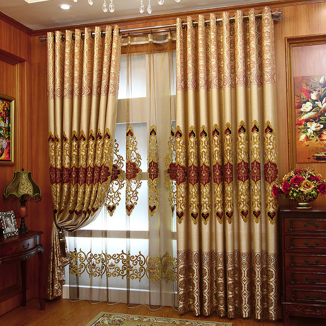 Embroidered Flowers European Curtain Living Room Vase Voile Bedroom Elegant  Curtains And Chiffon Customization