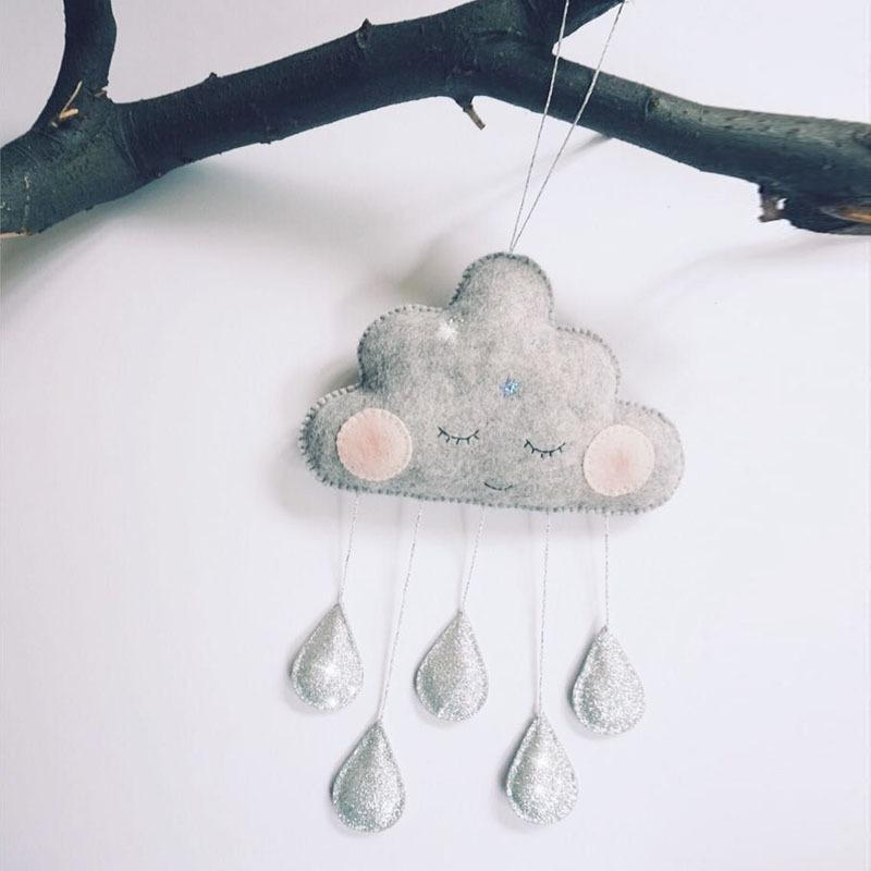 Cloud Raindrops Hanging Ornament Nursery Mobile Room Decoration Baby Kids Room Hanging Decoration Photo Props Toy L40