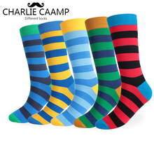 charlie caamp 5Pairs/lot Winter Cotton Large Size 5Color Stripe Pattern Socks
