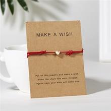 Ailodo Make a Wish Gold Heart Bracelet Handmade Jewelry Multicolor Rope Adjustable String Lucky For Women Men LD208