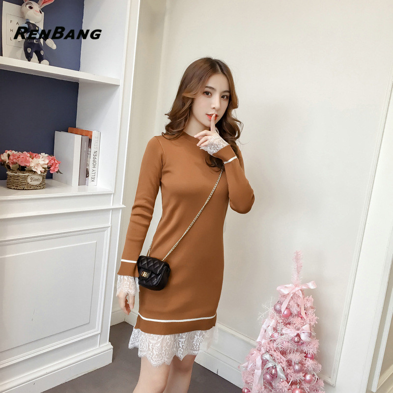 RENBANG Spring New Women Knitting Pullover Sweater Dresses Casual Long Sleeve O Neck Elegant Lace Patchwork Sweater Dress