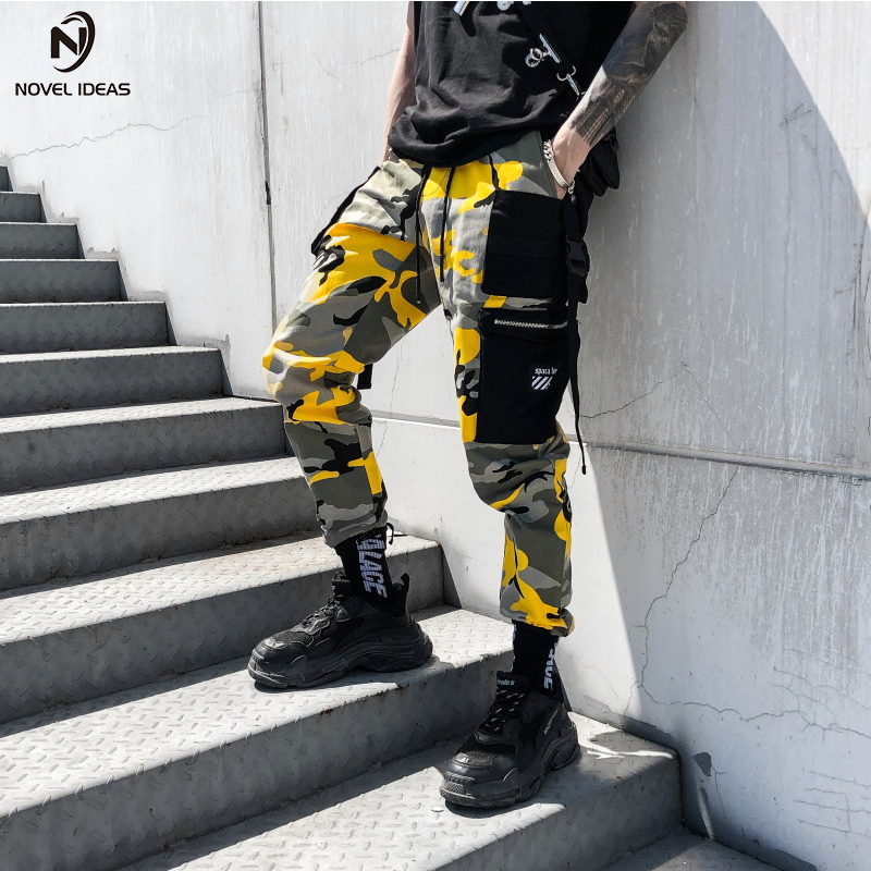 Novel ideas Fashion Men Camouflage Pant High Waist Hiphop Pink Camo Pant Military Pant Jogger Dance Pant US Size-in Casual Pants from Men's Clothing
