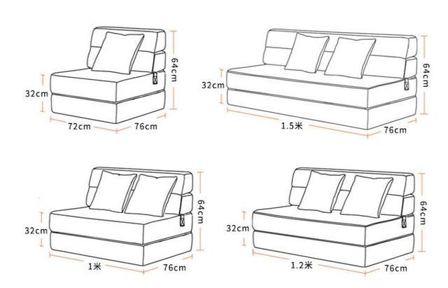 Louis Fashion Bean Bag Sofa Bed Folding Single Person Small Apartment  Double Function Multi-function Tatami Bedroom Lazy Sofa