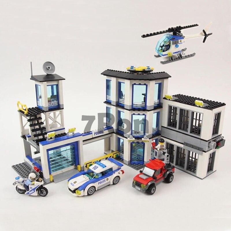 39058 blocs de construction de poste de Police de la ville briques voiture hélicoptère Compatible avec Legoings 02020 Bringuedos pour enfants bricolage jouets