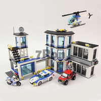39058 City Police Station Building Blocks Bricks Helicopter Car Compatible with Legoings 02020 Bringuedos for children DIY Toys