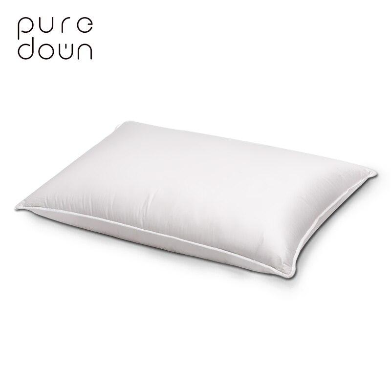 Puredown cou oreiller maison vivant de haute qualité 48*74 cm blanc en duvet d'oie plume oreiller coton doux literie oreillers de couchage