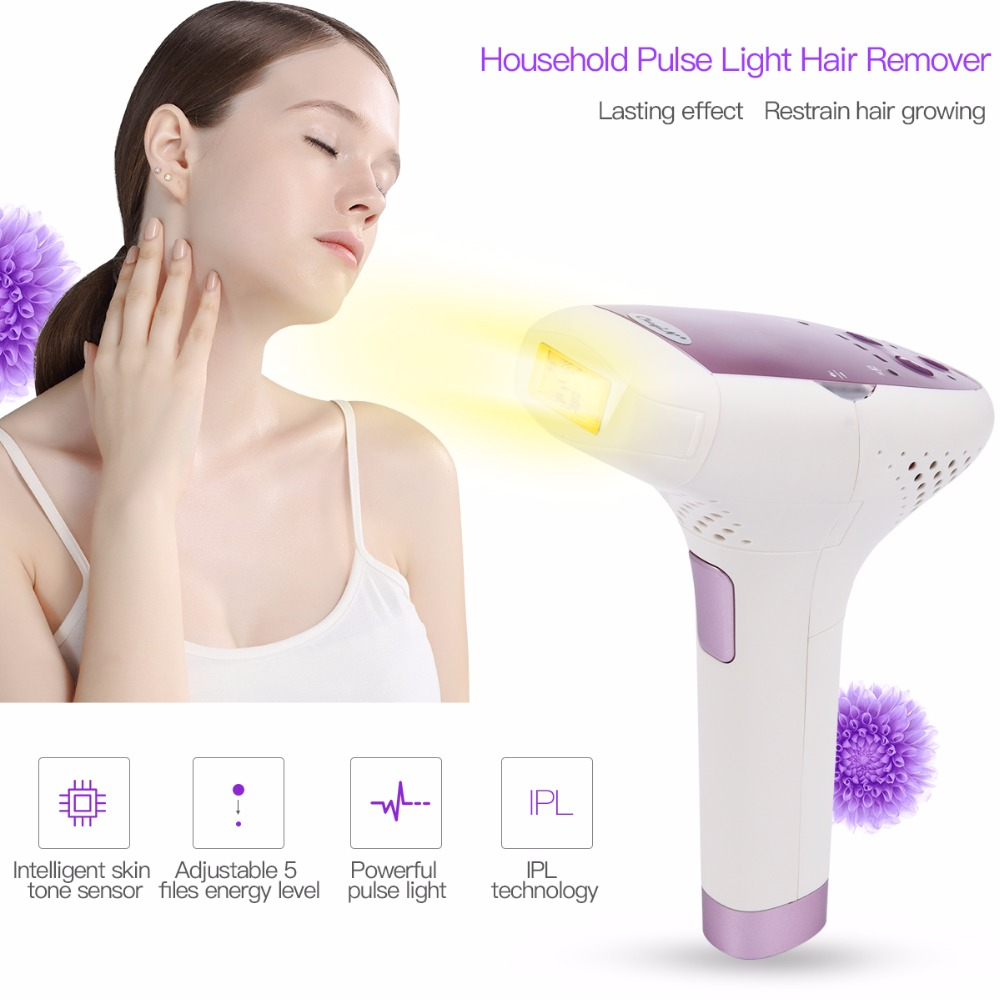 Electric Hair Remover Pulse Light Hair Removal Instrument Pain-less Handhold Not Waterproof Body Hair Remover for Home Use graceful round collar sleeveless floral print chiffon midi dress for women