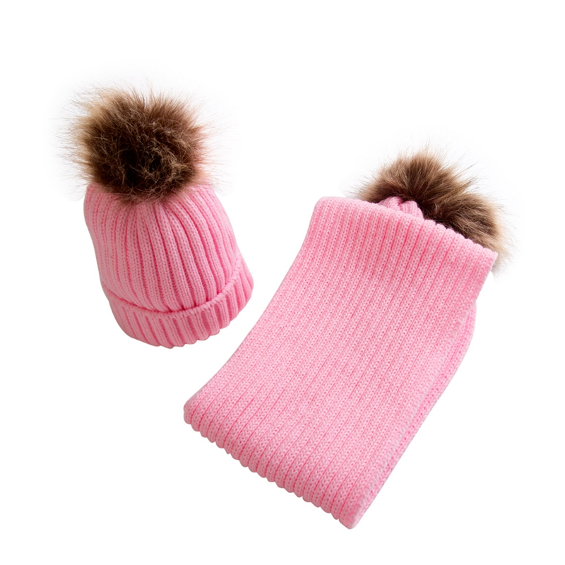 Fashion 2018 Winter Baby Hats Raccoon Fur Ball Hat Kids Scarf Set Baby Girls Boys Pom Poms Knitted Skullies Beanies Cap