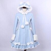 Lolita Princess Dress Women Autumn Winter 2018 Fashion Cat Ears Hooded Lovely Slim Warm Woolen Overcoat Free Shipping