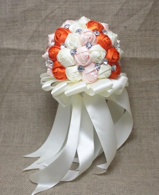 Оранжевый горный хрусталь искусственный свадебные букеты свадебное Accessoires мантия-де-mariage блан элегантный