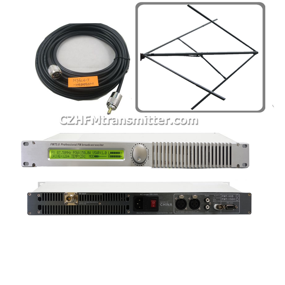 0-<font><b>50W</b></font> PLL Professional <font><b>FM</b></font> <font><b>transmitter</b></font> 87-108Mhz CP100 Circular Elliptical Polarized antenna KIT image