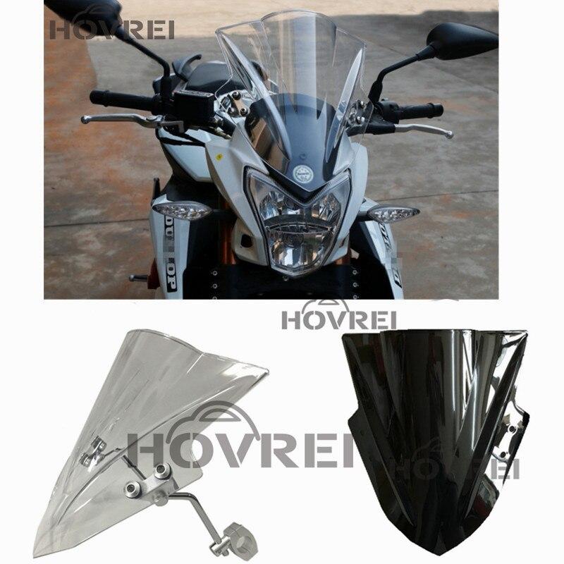 1Set Black Clear Motorcycle Street Bikes Windshield Windscreen For Honda CB1000R CB300F CB 1000R 300F 500F