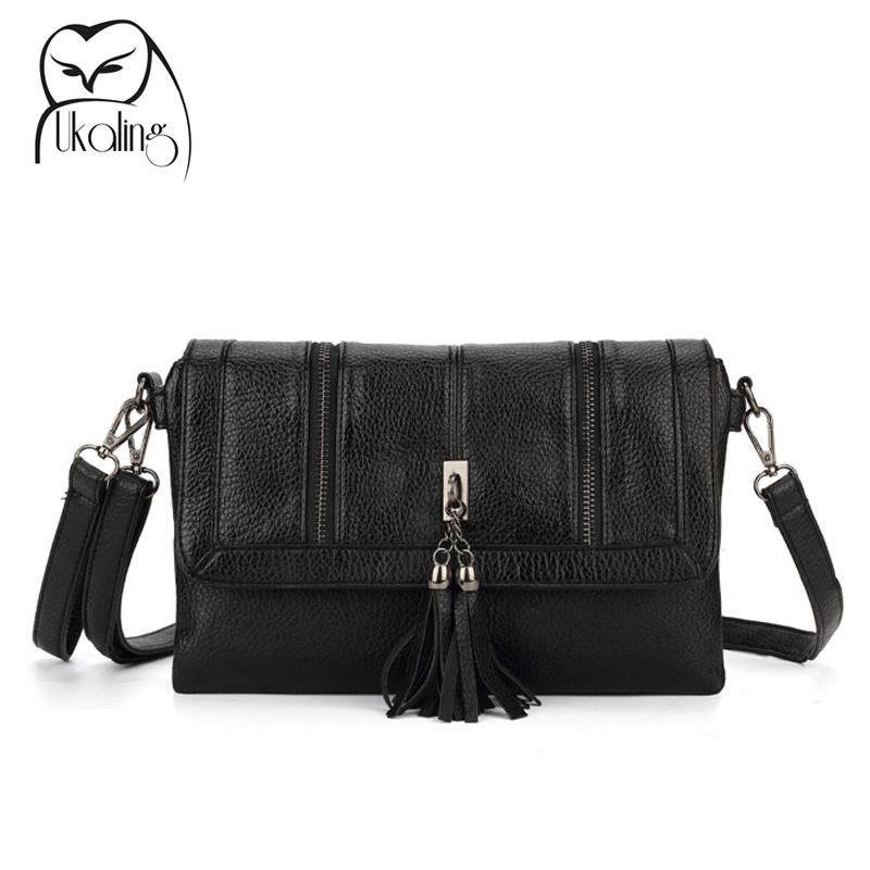 UKQLING Long Strap Women's Bag Small Crossbody Bags for Women Leather Handbag Tassel Clutch Purse and Handbag Sac Femmel