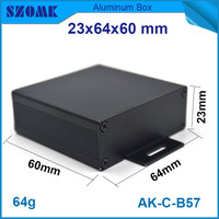 1 Piece Free Shipping Anodizing Aluminum Housing Case Black Instrument Enclosure 24x64x60mm