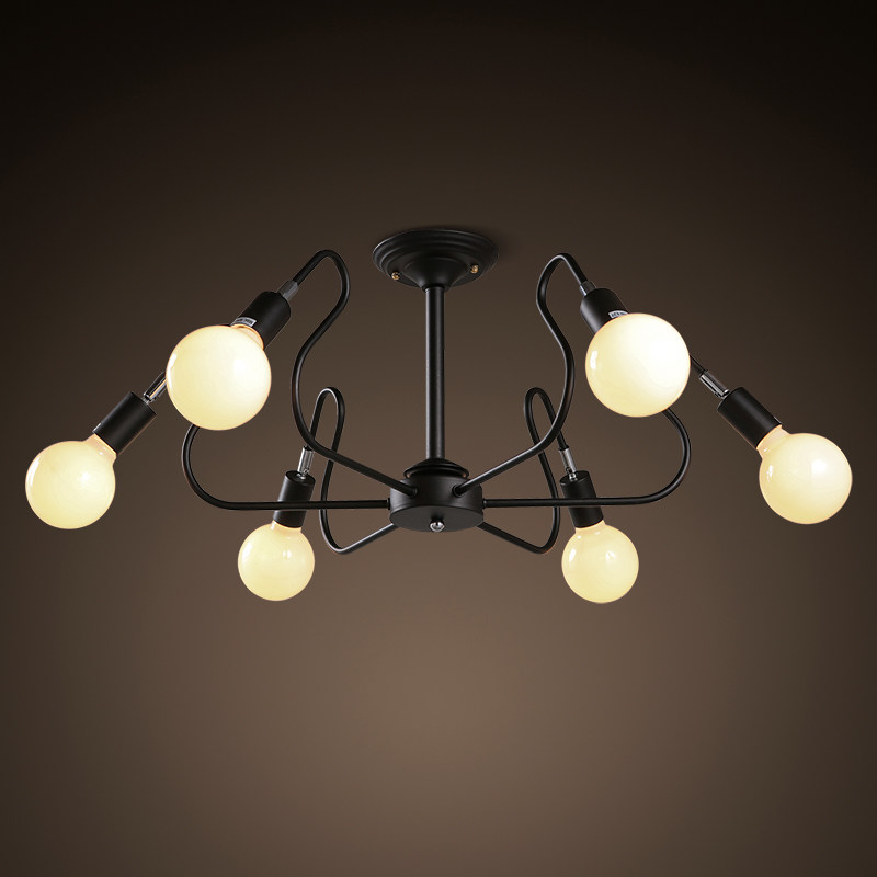 6 lights Simple Creative Modern  Lustres wrought iron industrial Cafe project lamps Nordic Art Deco glass ball MOD pendant hangi nodic magic beans dna lustres pendant light modern wrought iron e27 led home hanglamp industrial cafe art deco project lamps