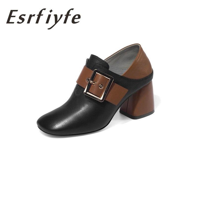 ESRFIYFE 2019 новый 100% натуральная кожа толщиной туфли лодочки на высоком каблуке туфли с квадратным носом Женская мода женские черные пикантные