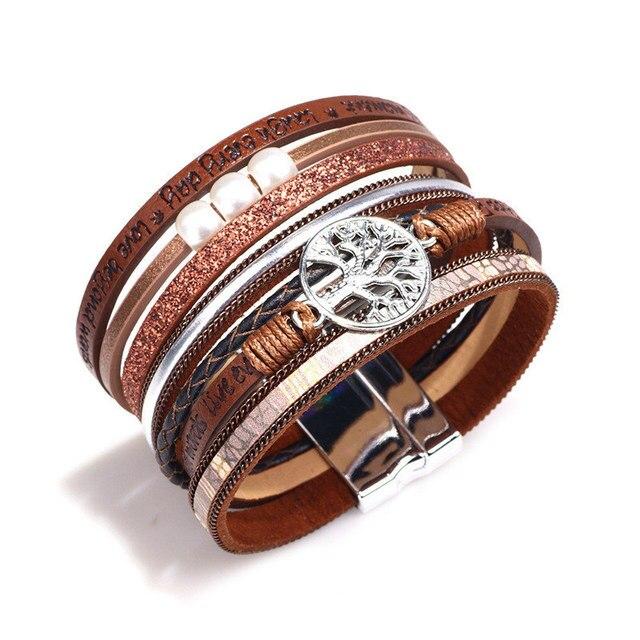 Janeyacy новый модный полый браслет «Древо жизни» кожаный женский