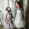 Платья 2016 корейских новой весны и летом детские бутик одежды сладкий сплошной цвет слинг марли жилет платье