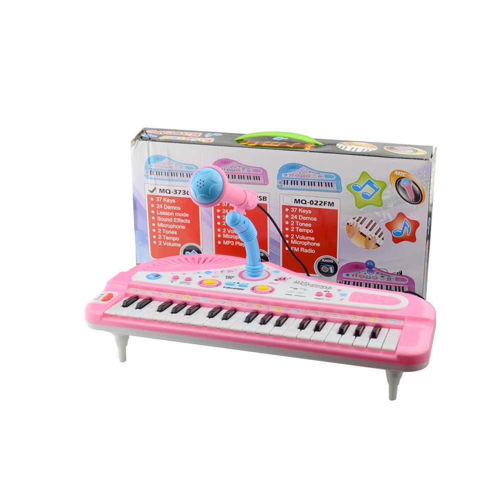 Piano Anak-anak Mainan 37 Kunci Mini Keyboard Elektronik dengan Mikrofon Alat Musik Bayi Electone Piano untuk Anak Hadiah Tidak Ada Kotak