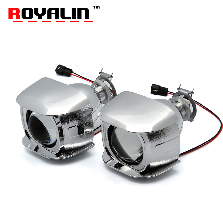 ROYALIN Car Style H1 Bi-xenon HID Mini Projector Headlights Lens 1.8 inch for Motorcycle H4 H7 Auto Retrofits Fog Lights DIY new m803 2 5 car motorcycle universal headlights hid bi xenon projector kit and m803 hid projector lens for free shipping