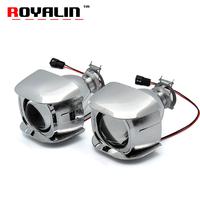 ROYALIN Car Style H1 Bi-xenon HID Mini Projector Headlights Lens 1.8 inch for Motorcycle H4 H7   Auto   Retrofits Fog Lights DIY