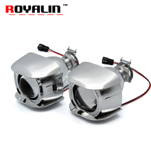 ROYALIN Car Style H1 Bi-xenon HID Mini Projector Headlights Lens 1.8 inch for Motorcycle H4 H7 Auto Retrofits Fog Lights DIY