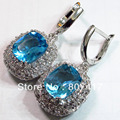 Azul romântico Cubic Zirconia e branco Cubic Zirconia brincos Vintage banhado a prata promoção R468