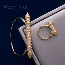 MoonTree New Arrive Luxury Nail Shape Super Shing AAA Cubic Zriconia Wedding Saudi Arabic Dubai Bangle Ring Set