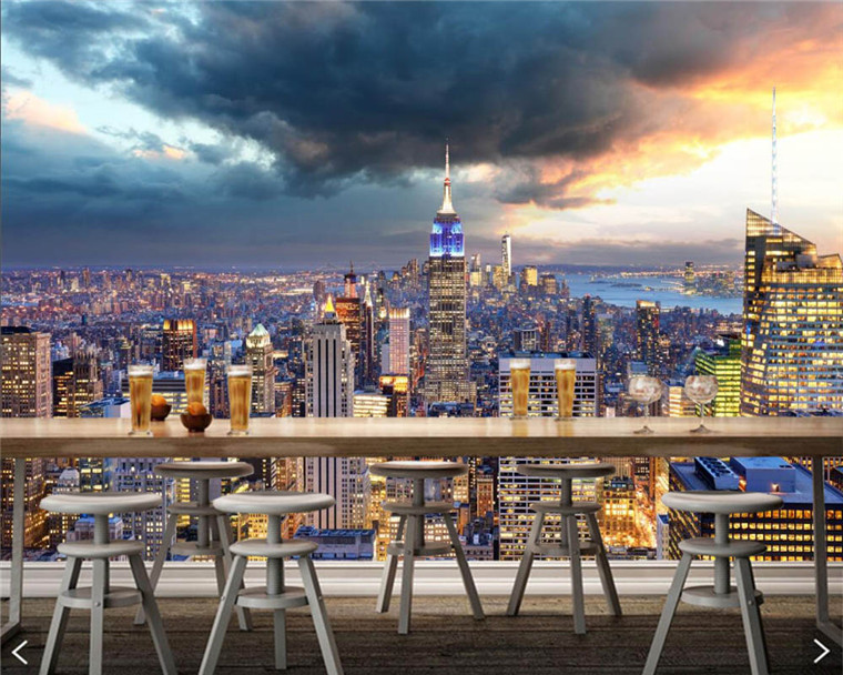 Papel De Pared USA Skyscrapers New York City Manhattan Clouds Building Wallpaper,living Room Sofa TV Wall Bedroom Bar Murals