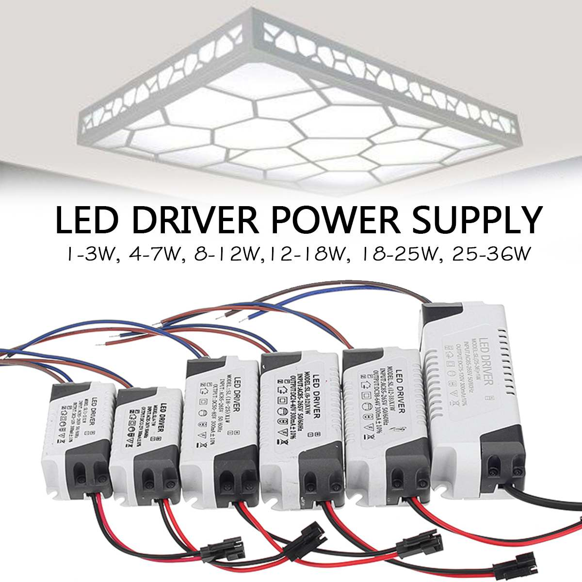 LED Constant Driver 1-3W 4-7W 8-12W 12-18W 18-25W 25-36W Power Supply Light Transformerss for LED Downlight Lighting AC85-265V image