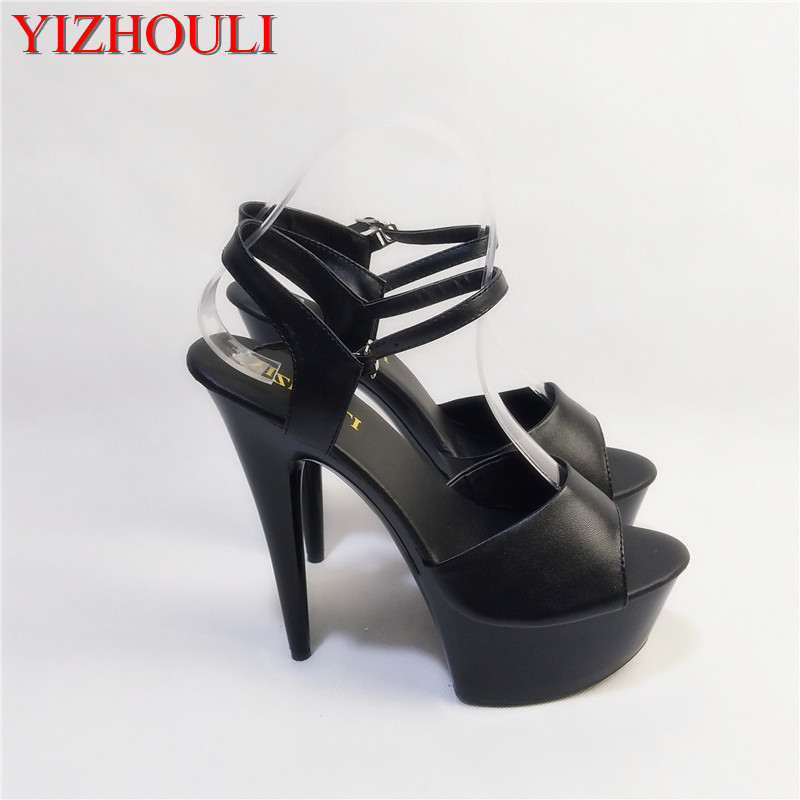 Fashion black 15 cm tall bottom is the baking varnish shoe attracts the fish mouth sandals