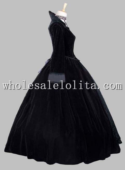Готическое Плиссированное и Атласное в викторианском стиле с принтом; бальное платье; сценический костюм