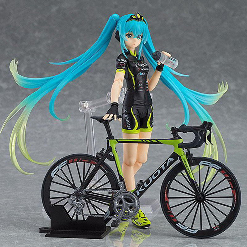 14cm Anime figure Hatsune Miku figma 307 Racing Miku 2015 TeamUKYO Support ver. PVC Action Figure Collectible Model Toys цена 2017