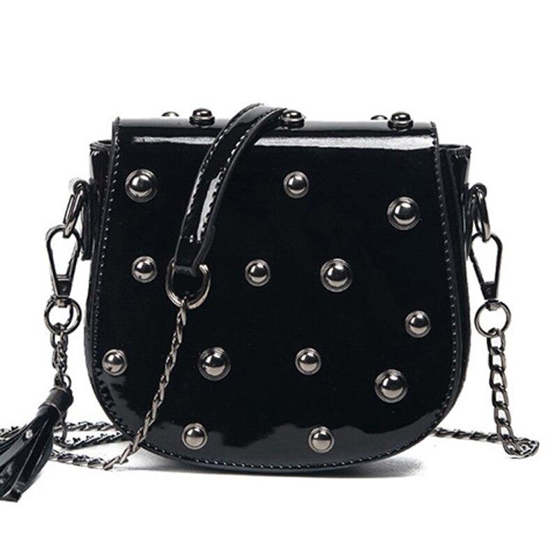 Women Bag Female Patent Leather Handbags Messenger Shoulder Bag Cross Body Brand Handbag Rivet Tassel Chain Black Cool Small Bag marfuny brand tassel shoulder bag female