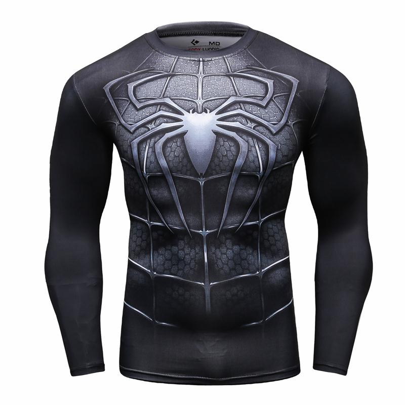 2016 Fitness Bodybuilding Marvel Avengers Cosplay Tights T Shirts Men Super Hero Iron Man Male T