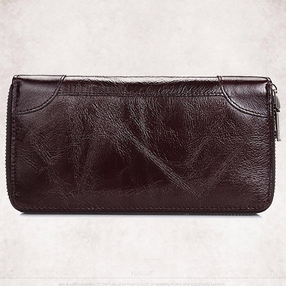 100% Genuine Leather Men Vintage Long Purse Coin Pocket Card Holder Clutch Money Bag Oil Wax Cowhide Bifold Zipper Wallet